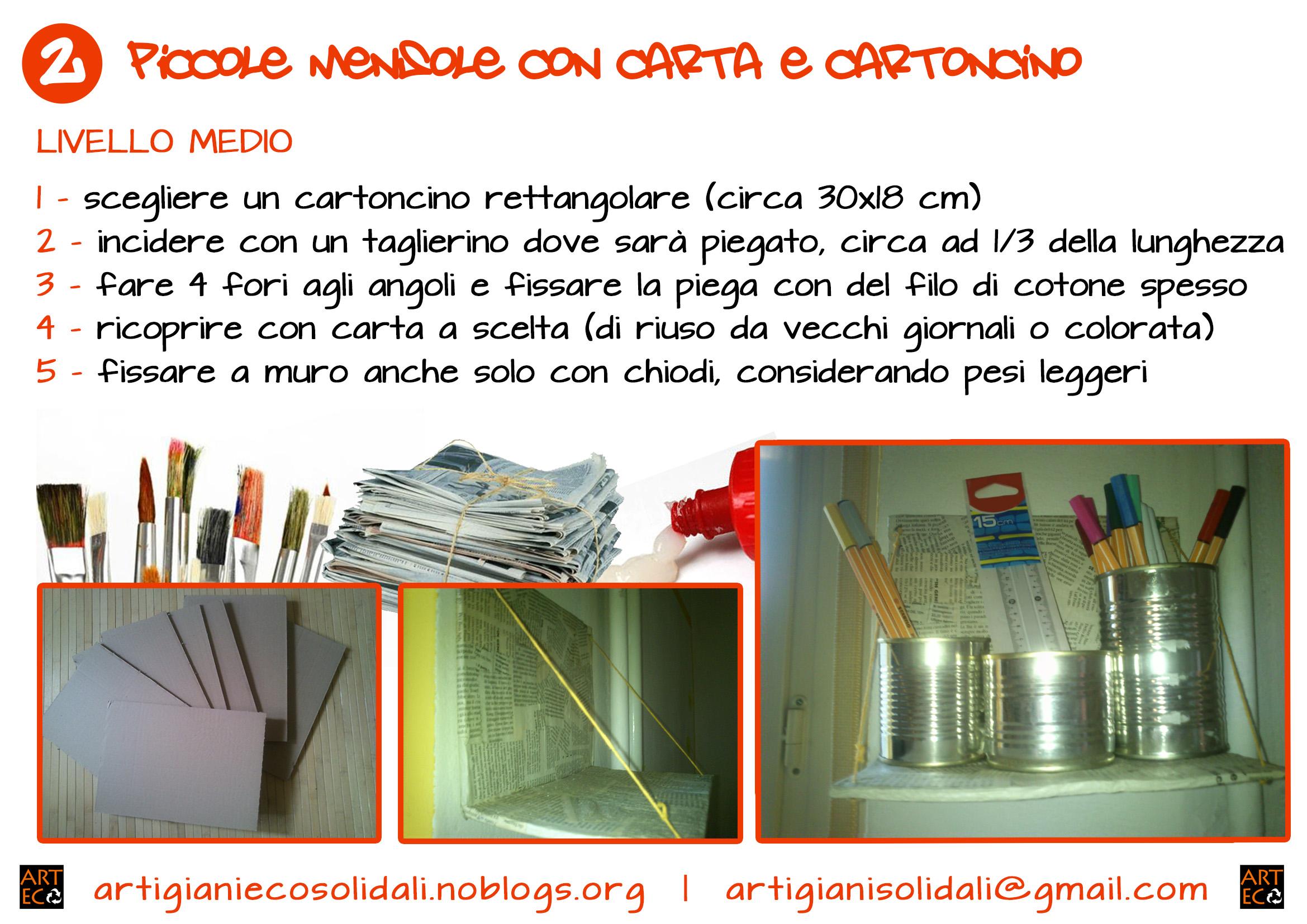 Piccole mensole con carta e cartoncino artigianiecosolidali for Piccole mensole